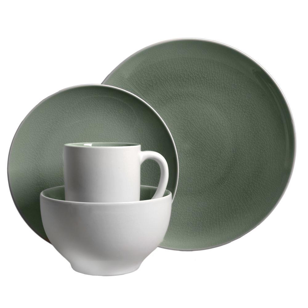 gibson elite serenity 16piece gray dinnerware set