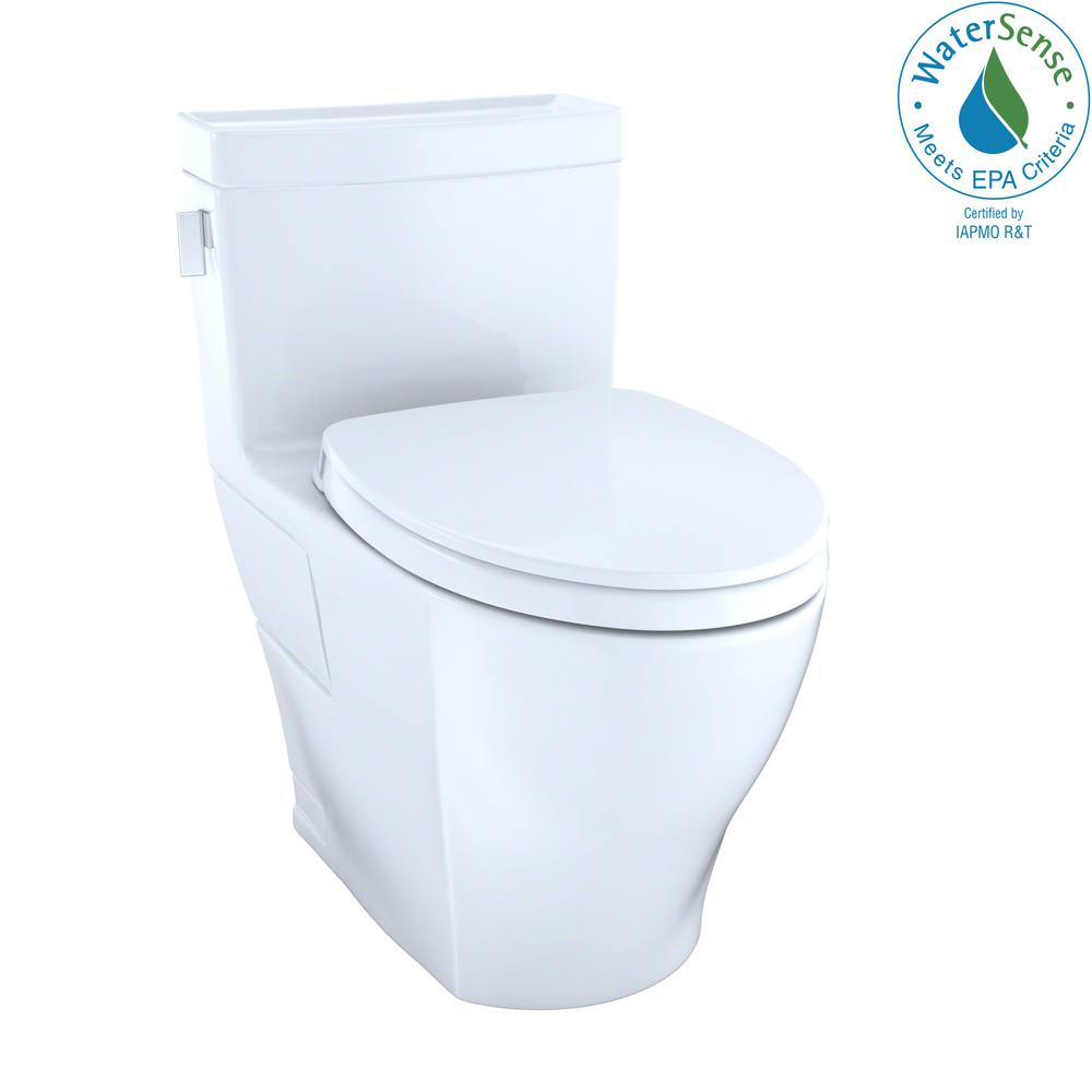Toto Legato Washlet 1 Piece 28 Gpf Single Flush Elongated Toilet With Cefiontect In Cotton White