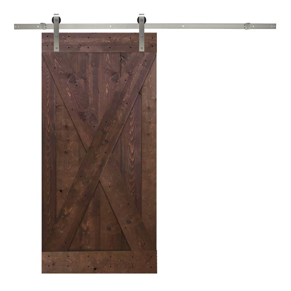 36 in. x 84 in. X-Panel Knotty Pine Wood Barn Door