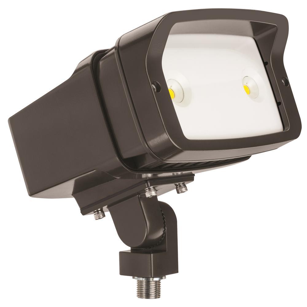 OFL1 45-Watt Bronze Outdoor Integrated LED 4000K Cool White Knuckle mount Landscape Flood Light