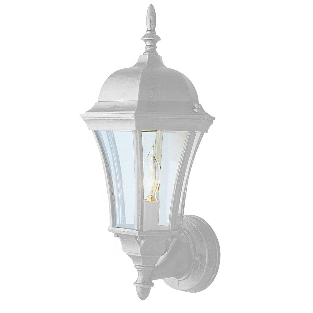 Bel Air Lighting Cabernet Collection Outdoor White Coach Lantern with Clear Curved Shade