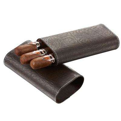Russell Tobacco Leaf Patterned Brown Leather Cigar Case