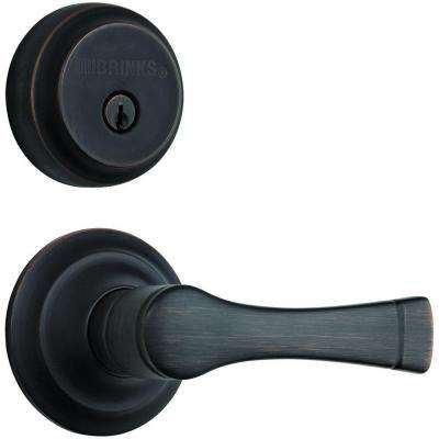 Harper Single Cylinder Tuscan Bronze Keyed Passage Push Pull Rotate Door Lever with Deadbolt