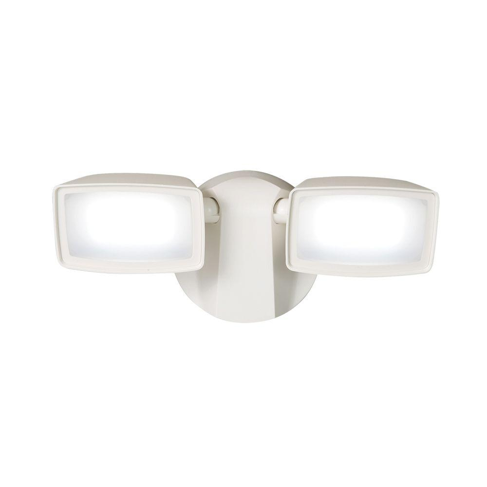 White Outdoor Integrated LED Security Flood Light with 5000K Daylight