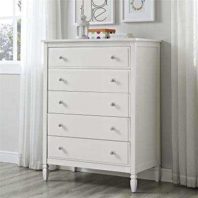 Vivienne 5-Drawer White Chest