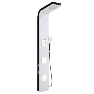 59 in. 3-Jet Shower Panel System with Rainfall Waterfall Shower Head and Shower Wand in White and Black