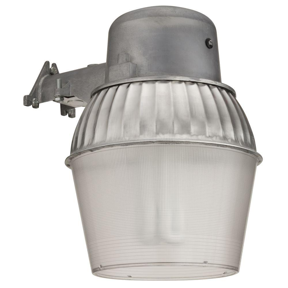 Exterior-Security-Lighting-Fixtures. 1 Light Gray Outdoor Compact Fluorescent Area Light With Dusk To Dawn Photocell