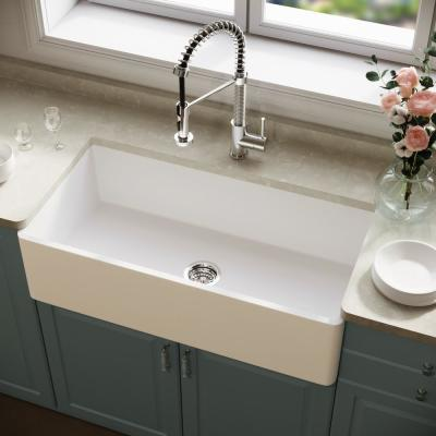Matte Stone White Composite 36 in. Single Bowl Reversible Flat Farmhouse Apron-Front Kitchen Sink with Strainer