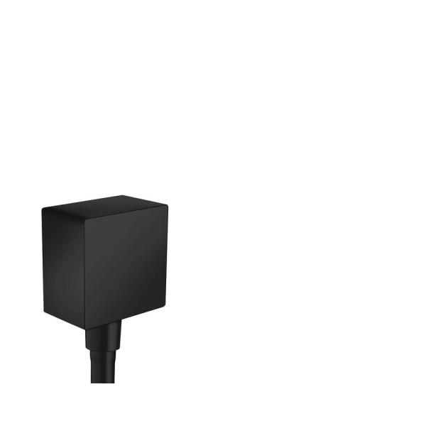 Square Shower Wall Outlet with Check Valve in Matte Black