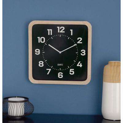 15 in. x 15 in. Classic Brown and Black Square Table Clock