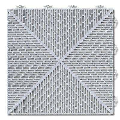 Soft 1.24 ft.  x 1.24 ft. Polyethylene Deck Tile in Shadow Gray (16-Per Case)