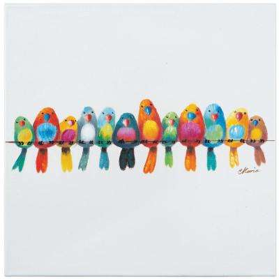 """20 in. H x 20 in. W """"Birds on a Wire III"""" Artwork in Cotton Canvas Wall Art"""