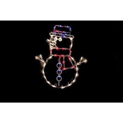 18 in. Christmas Lighted Snowman Window Silhouette Decoration (4-Pack)