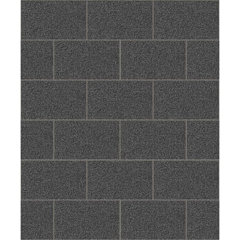 Neale Black Subway Tile Wallpaper Sample