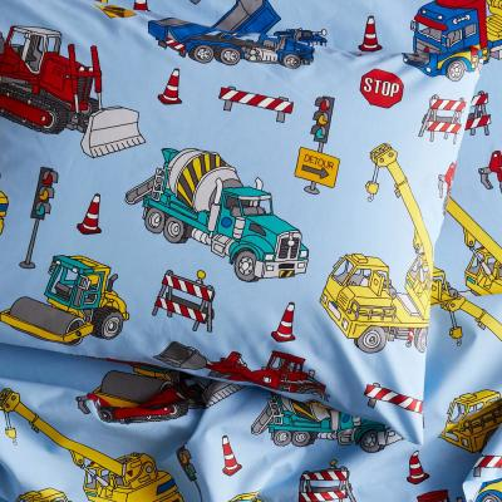 Construction Trucks 200 Thread Count Organic Cotton Percale Standard Pillowcase (Set of 2)