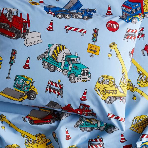 Company Kids by The Company Store Construction Trucks 200-Thread Count Organic