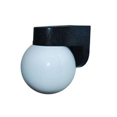 1-Light Black Outdoor Wall Bracket with 6 in. Globe