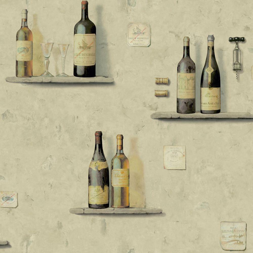 York Wallcoverings American Classics Wine Bottle Wallpaper