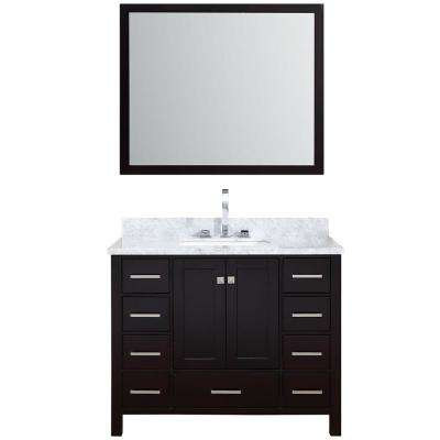 Cambridge 43 in. Vanity in Espresso with Carrara Marble Vanity Top in White with White Basin and Mirror