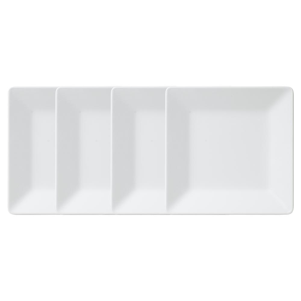 Diamond Square 7.25 in. Melamine Salad Plate in White (Set of