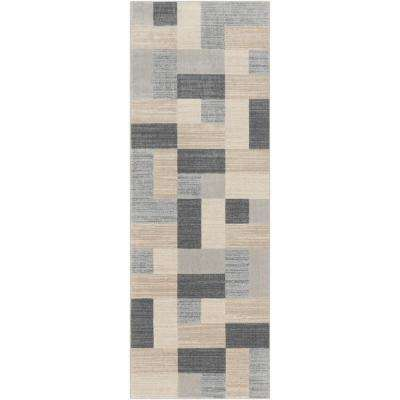 Astvin Beige/Grey 2 ft. 7 in. x 7 ft. 3 in. Geometric Runner Rug