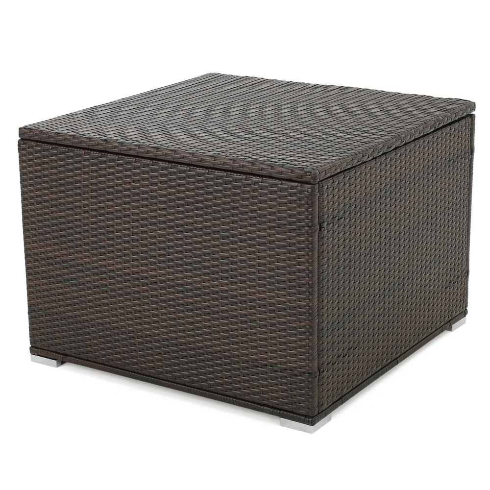 Awe Inspiring Noble House Iliana Multibrown Wicker Outdoor Ottoman With Storage Machost Co Dining Chair Design Ideas Machostcouk
