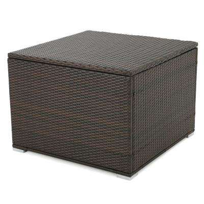Iliana Multibrown Wicker Outdoor Ottoman with Storage