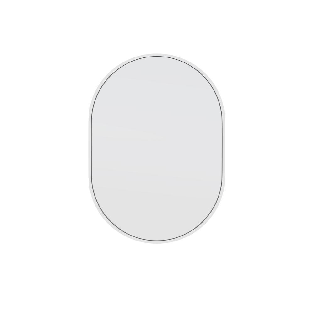 20 in. W x 28 in. H Stainless Steel Framed Pill Shape Bathroom Vanity Mirror in White