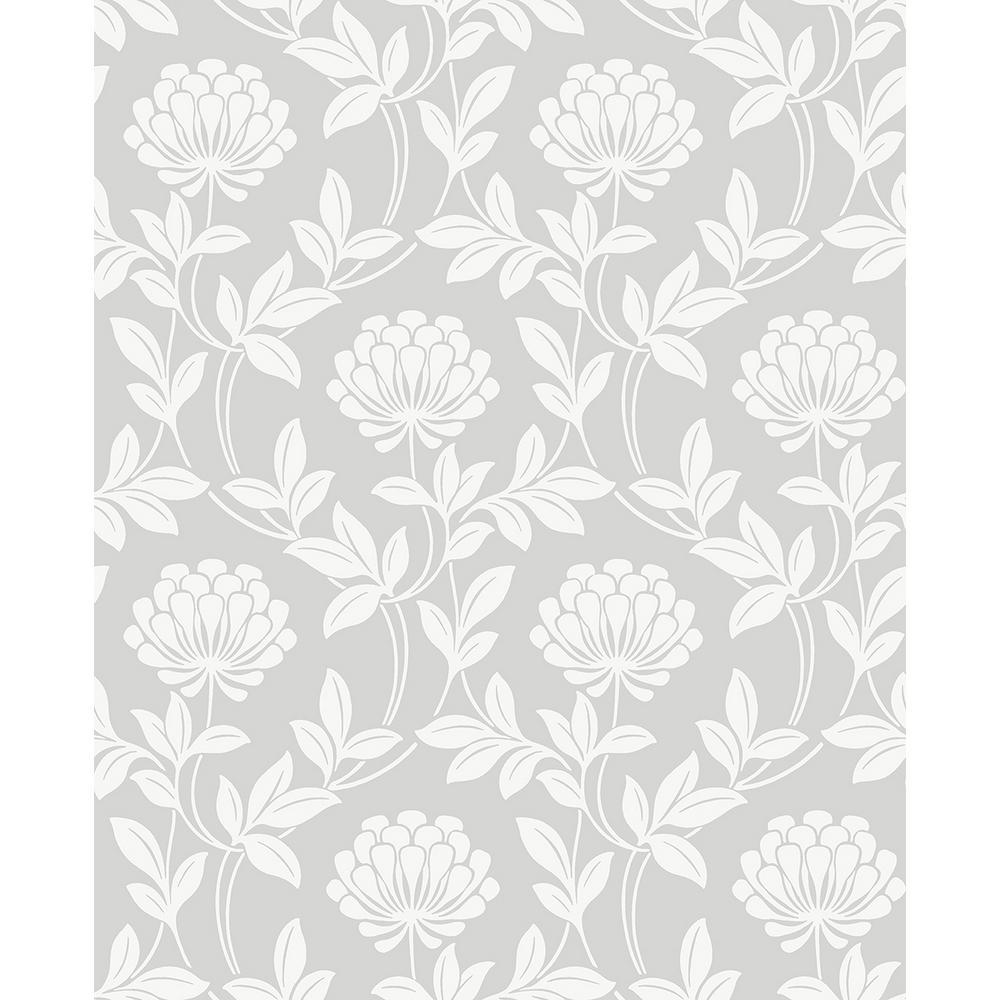 Advantage 56 4 Sq Ft Ogilvy Silver Floral Wallpaper 2810 87717