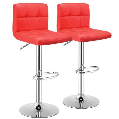 Red PU Leather Bar Stools Adjustable Swivel Kitchen Counter Bar Chair (Set of 2)