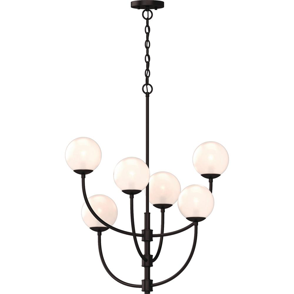 Volume Lighting Lawrence 6-Light Foundry Bronze Indoor Hanging Chandelier with Etched White Cased Glass Round Sphere Globe Orb Shades
