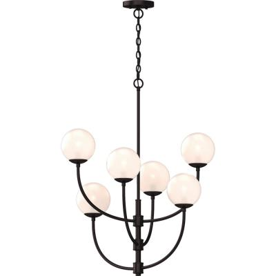 Lawrence 6-Light Foundry Bronze Indoor Hanging Chandelier with Etched White Cased Glass Round Sphere Globe Orb Shades