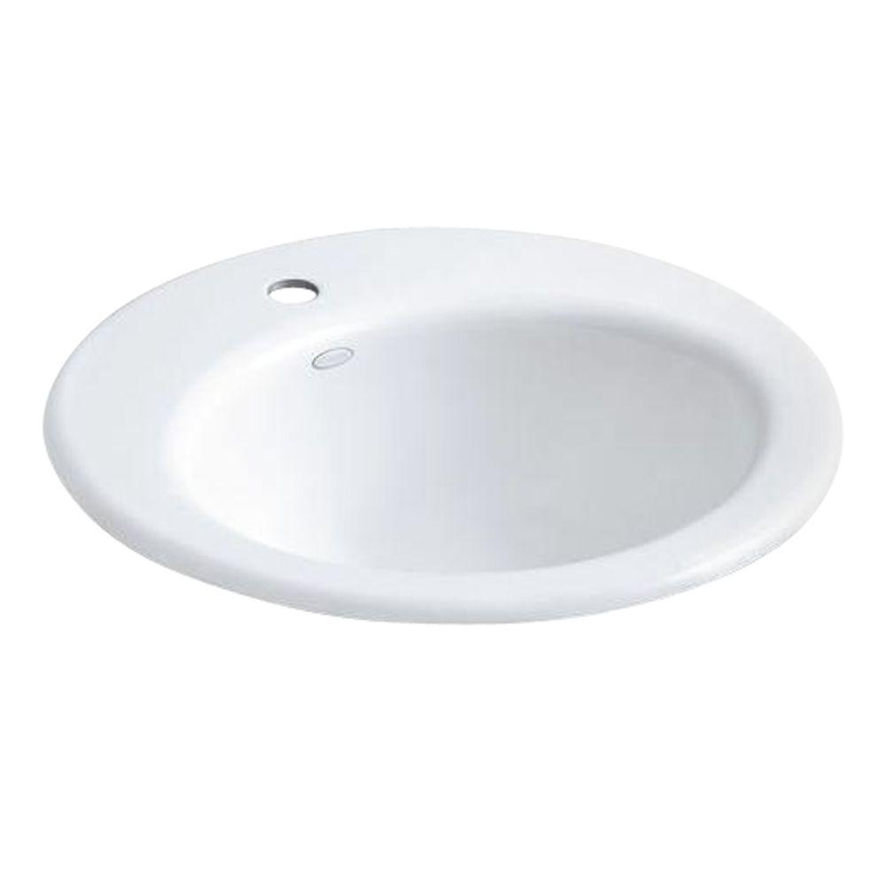 Radiant Drop-In Cast Iron Bathroom Sink in White with Overflow Drain