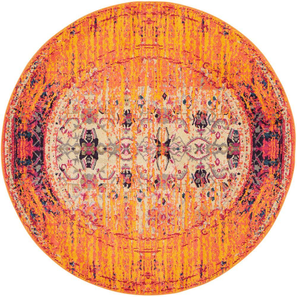 Safavieh Monaco Orange/Multi 5 Ft. X 5 Ft. Round Area Rug