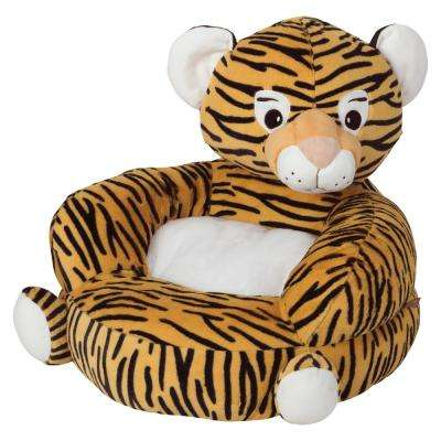 Orange, Black Children's Plush Tiger Character Chair