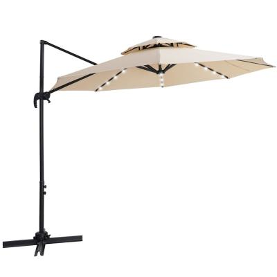 10 ft. Cantilever Solar Patio Umbrella with 28 LED Lights and Cross Base in Beige