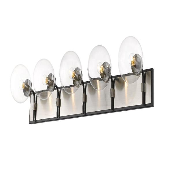 42.25 in. 5-Light Matte Black and Brushed Nickel Vanity Light with Clear Glass