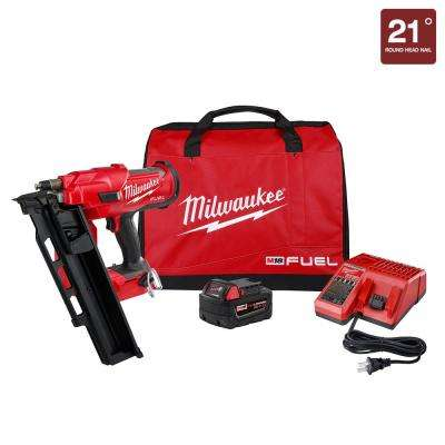 M18 FUEL 3-1/2 in. 18-Volt 21° Lithium-Ion Brushless Cordless Framing Nailer Kit with 5.0 Ah Battery, Charger, Bag