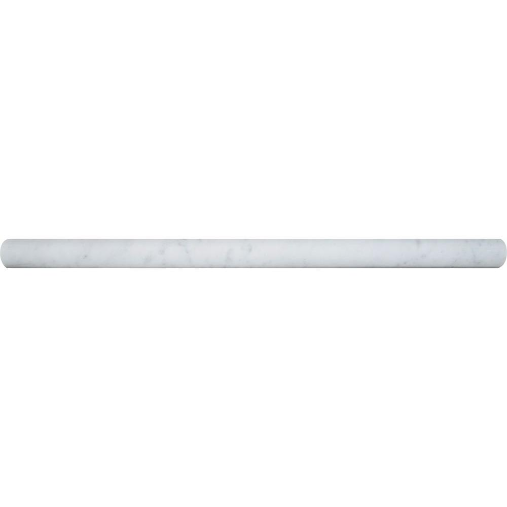 MSI Carrara White Pencil Molding 3/4 in. x 12 in. Polished Marble Wall Tile (20 lin. ft. / case)