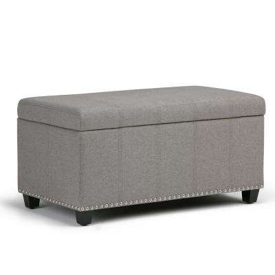 Amelia Dove Grey Linen Look Fabric Storage Ottoman