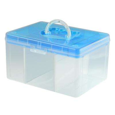 12.8 in. x 9.7 in. Hobby and Crafts Portable Storage Box with Removable Top Organizer Tray in Blue (6-Pack)