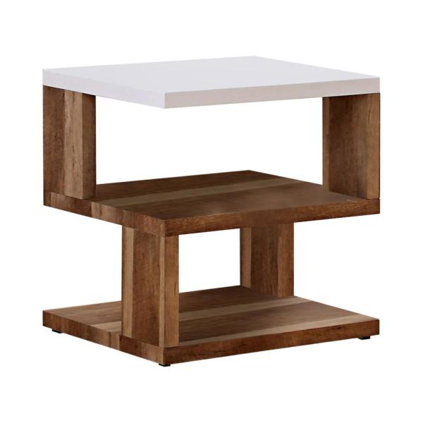 Hyatt White and Natural Tone End Table