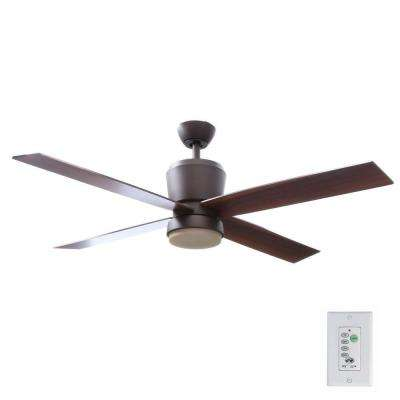 Trusseau 52 in. Indoor Oil Rubbed Bronze Ceiling Fan with Light Kit and Remote Control