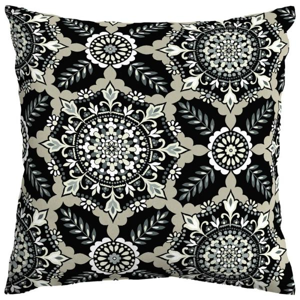 Black Tile Square Outdoor Throw Pillow (2-Pack)