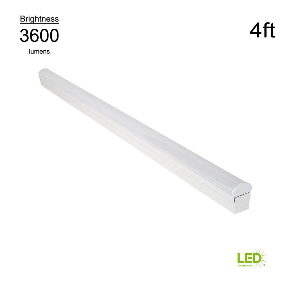 Commercial Electric Direct Wire 4 Ft 64 Watt Equivalent Integrated Led White Strip Light Fixture 4000k Bright 3600 Lumens