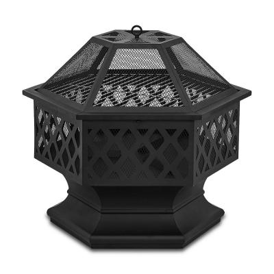 24 in. x 8.25 in. Outdoor Hex-Shaped Patio Firebowl Portable Wood Fire Pit w/ Spark Screen Cover, Poker, and Grill