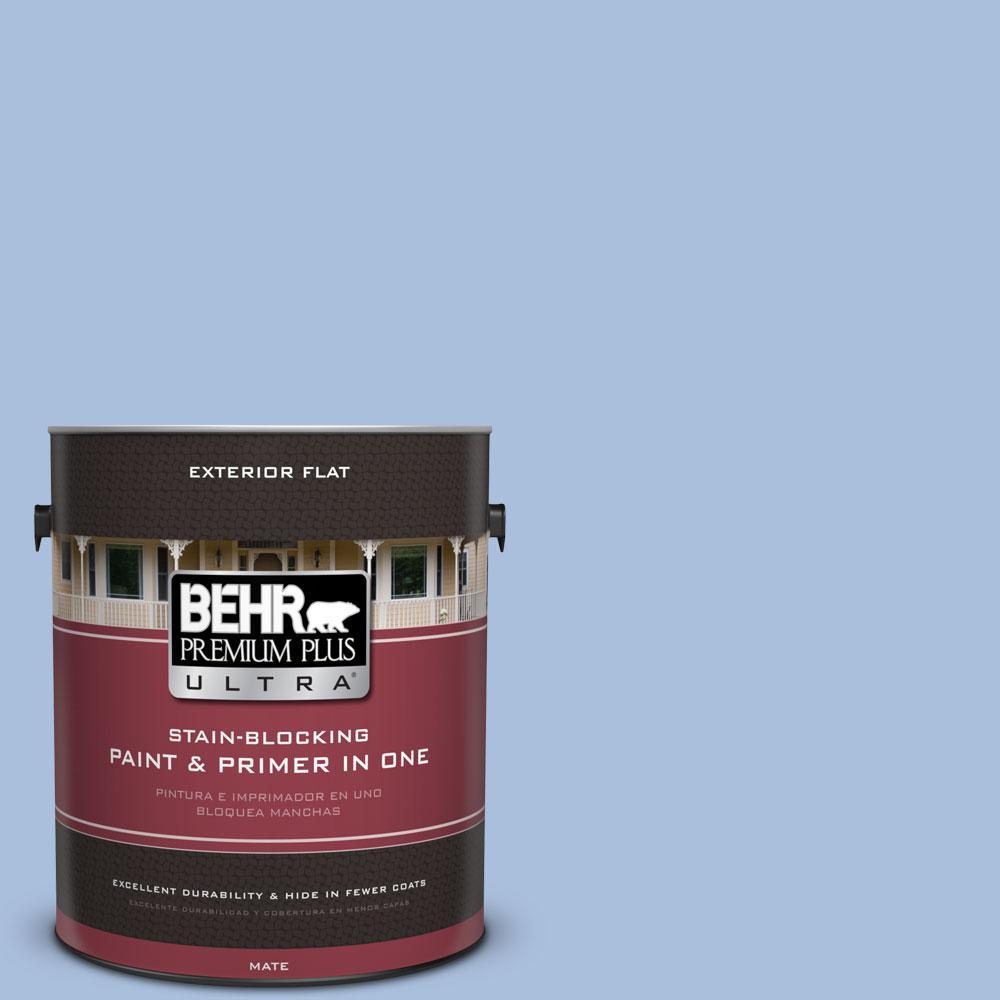 BEHR Premium Plus Ultra 1-gal. #580D-4 Skysail Blue Flat Exterior Paint