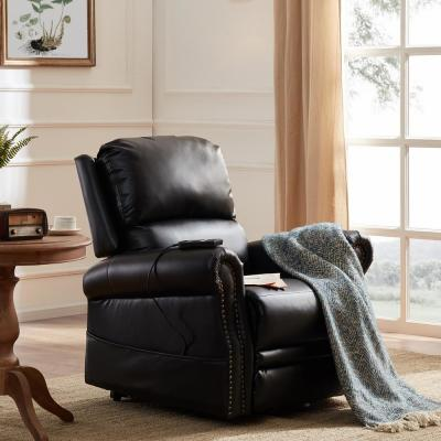 Black PU Leather Heavy Duty Power Lift Recliner Chair