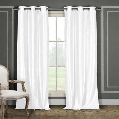Bali 38 in. x 96 in. L Polyester Faux Silk Curtain Panel in White (2-Pack)
