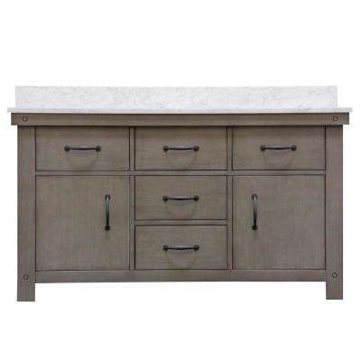 Aberdeen 60 in. W x 34 in. H Vanity in Gray with Marble Vanity Top in Carrara White with White Basins